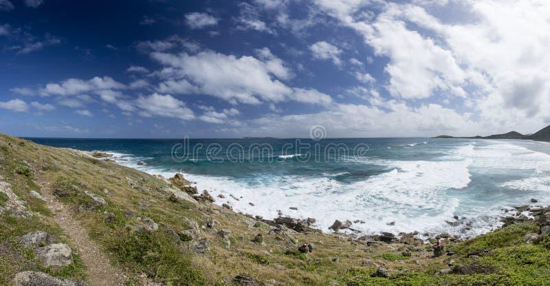 Panoramique de Saint Martin, Sint Maarten : Plages des Caraïbes image libre de droits