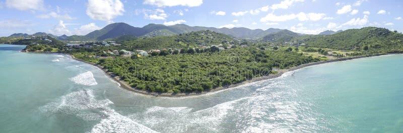 Panoramique de Saint Martin, Sint Maarten : Plages des Caraïbes image stock