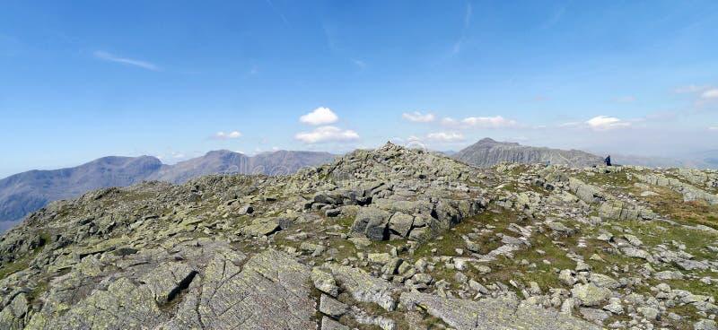 Panoramique du sommet de rochers de pli, secteur de lac photos stock