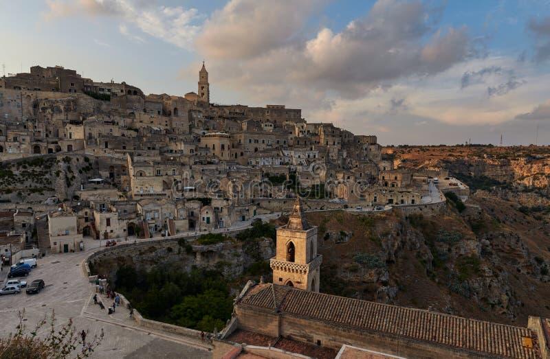Panoramisch beeld van Sasso caveoso matera royalty-vrije stock afbeeldingen
