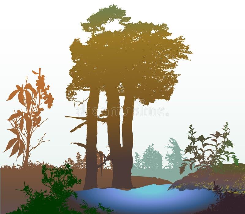 Panoramisch bosmoerasland met natuurlijke meer en silhouetten van bomen, gras en installaties stock illustratie