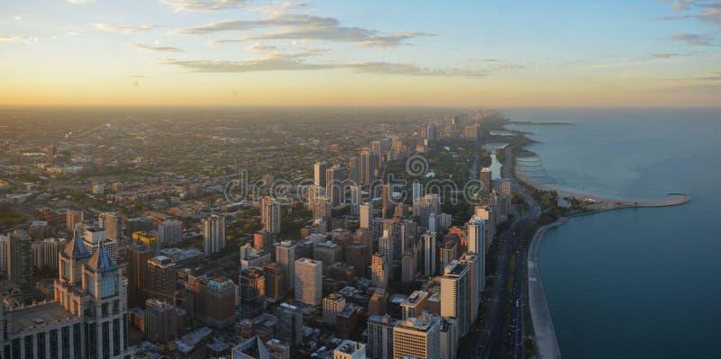 Panoramisch Chicago - het noordenkant stock afbeelding