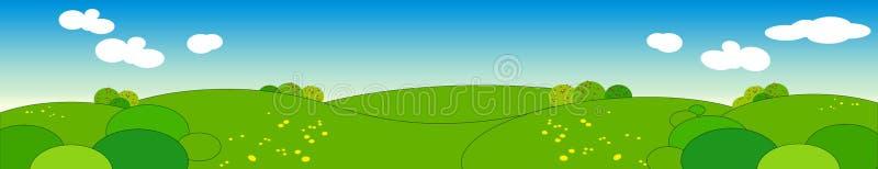 Panoramisch de zomerlandschap. vector illustratie