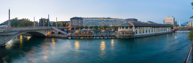 Panoramisch Genève van de binnenstad stock afbeelding