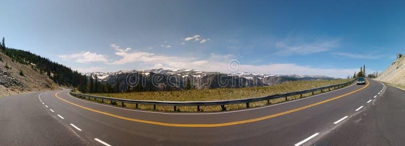 Panoramisch genomen op de Toneelweg van Beartooth, tijdens een reis aan het Nationale Park van Yellowstone stock fotografie