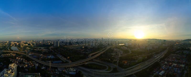 Panoramisch Satellietbeeld van Kuala Lumpur-cityscape in de ochtend stock afbeelding