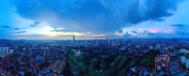 Panoramisch Satellietbeeld van Kuala Lumpur stock afbeelding