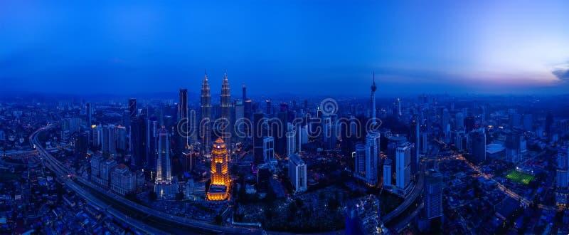Panoramisch Satellietbeeld van Kuala Lumpur-cityscape royalty-vrije stock afbeelding