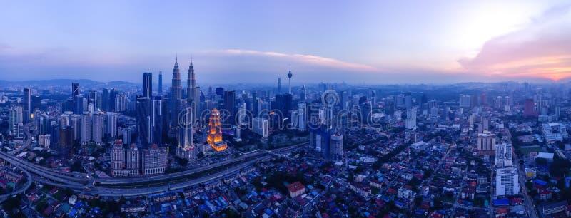 Panoramisch Satellietbeeld van Kuala Lumpur-cityscape stock foto