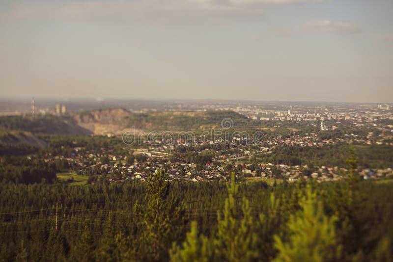 Panoramisch schot op een kleine stad, miniatuureffect royalty-vrije stock foto
