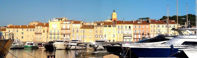 Panoramisch van de haven van Saint Tropez stock afbeelding