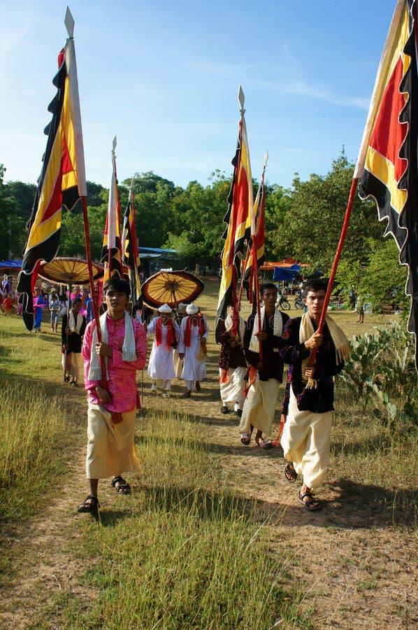 Panoramisch verbazen, Kate-festival, de traditionele cultuur van Cham stock fotografie