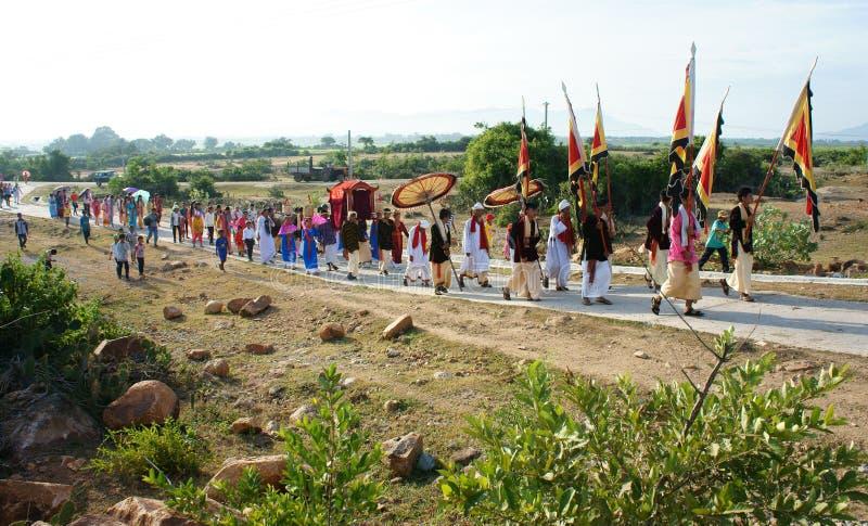 Panoramisch verbazen, Kate-festival, de traditionele cultuur van Cham royalty-vrije stock afbeelding