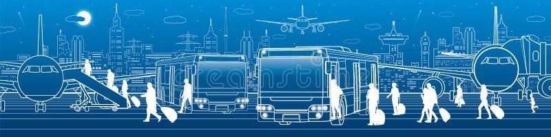 Panoramisch vervoer De passagiers gaan en gaan aan de bus binnen weg Het vervoersinfrastructuur van de luchthavenreis Het vliegtu royalty-vrije illustratie