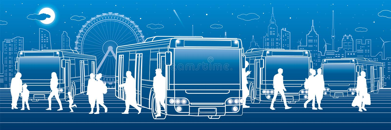 Panoramisch vervoer De passagiers gaan en gaan aan de bus binnen weg Mensen bij de post Stadsvervoersinfrastructuur Nachtstad a vector illustratie