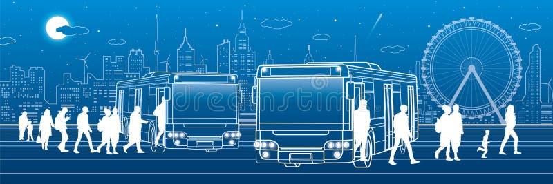 Panoramisch vervoer De passagiers gaan en gaan aan de bus binnen weg Stadsvervoersinfrastructuur Nachtstad bij achtergrond, vecto vector illustratie