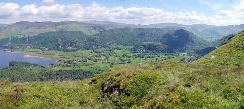 Panoramisch vom südlichen Ende von Derwent-Wasser lizenzfreies stockfoto