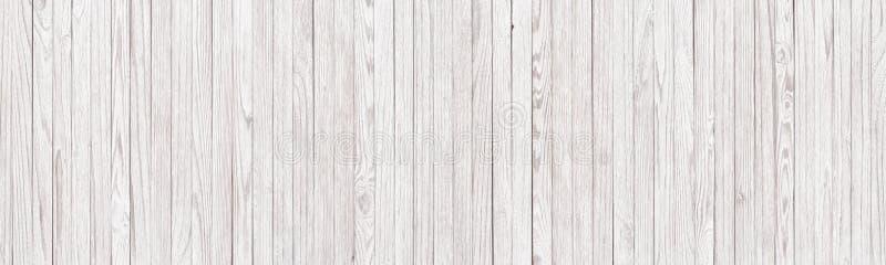 Panoramische achtergrond van witte houten textuur, lichte planken als wa stock foto