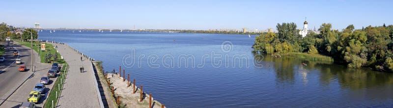 Panoramische Ansicht der Dnipropetrovsk Stadt lizenzfreie stockfotografie