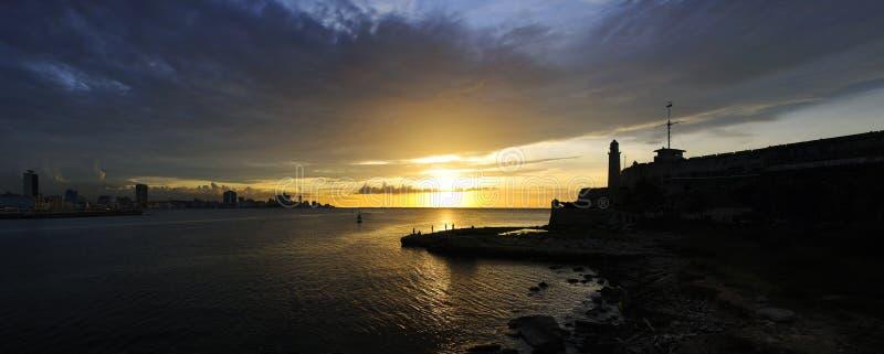 Panoramische Ansicht des Festungsschattenbildes in Havana lizenzfreies stockbild