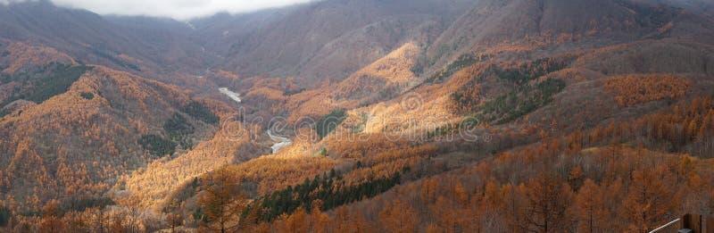 Panoramische Ansicht renge Berg des schönen Herbstes Landschaftsbei Haku stockbild