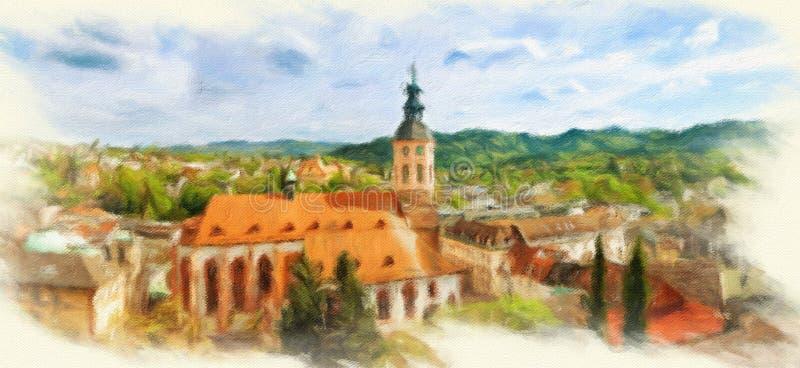 Panoramische Ansicht von Baden-Baden lizenzfreie abbildung