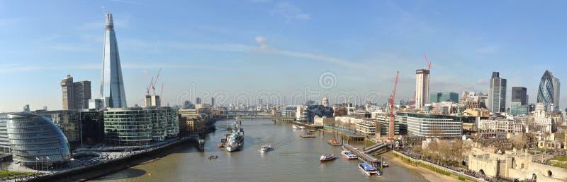 Panoramische Ansicht von der Kontrollturm-Brücke, London