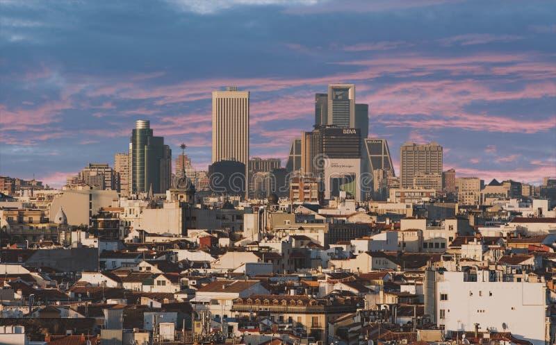 Panoramische arial Ansicht Madrids lizenzfreie stockfotografie