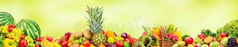 Panoramische brede inzamelingsvruchten en groenten voor skinali royalty-vrije stock afbeelding