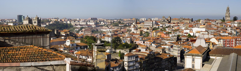 Panoramische cityscape Porto Portugal royalty-vrije stock afbeelding