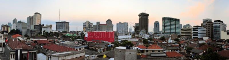 Panoramische cityscape van de hoofdstad van Indonesië royalty-vrije stock afbeelding