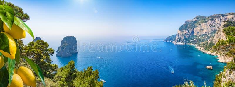 Panoramische collage met aantrekkelijkheden van Capri-Eiland, Italië stock afbeelding