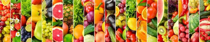 Panoramische Collage mit Obst und Gemüse Vertikale Streifen lizenzfreie stockfotos