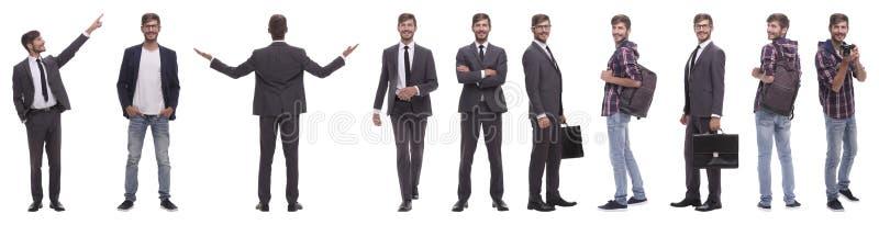 Panoramische collage van de zelf-gemotiveerde jonge mens Ge?soleerd op wit royalty-vrije stock fotografie