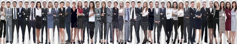 Panoramische collage van een groot en succesvol commercieel team stock afbeelding