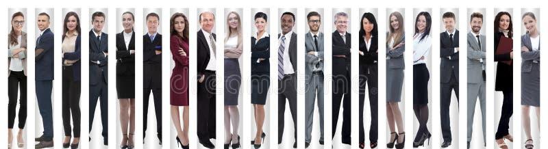 Panoramische collage van groepen succesvolle werknemers stock foto's