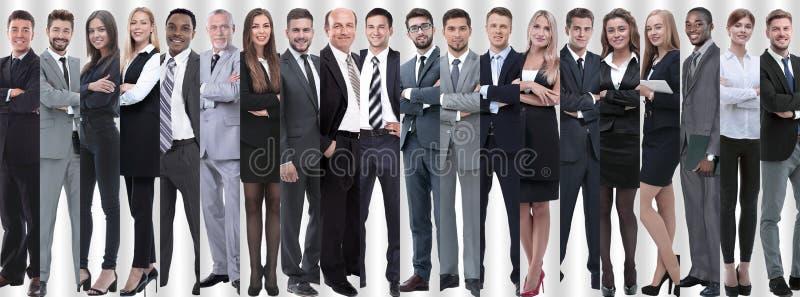 Panoramische collage van groepen succesvolle werknemers stock foto