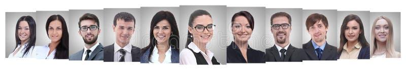 Panoramische collage van portretten van succesvolle bedrijfsmensen royalty-vrije stock afbeelding
