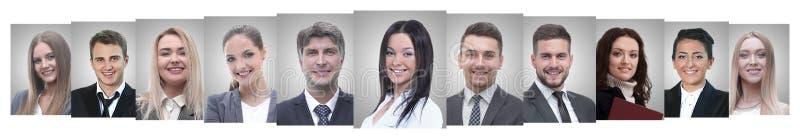 Panoramische collage van portretten van succesvolle bedrijfsmensen stock afbeeldingen
