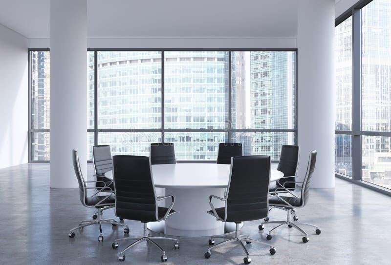 Panoramische conferentieruimte in modern bureau in commercieel van Moskou centrum, zogenaamde Moskou-Stad stock illustratie