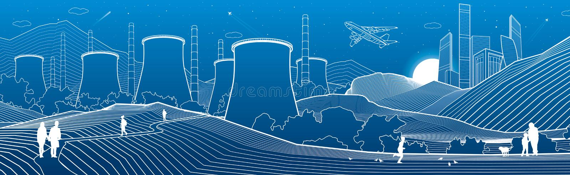 Panoramische de illustratie van de overzichtsindustrie De sc?ne van de nachtstad Mensen die bij tuin lopen Elektrische centrale i vector illustratie