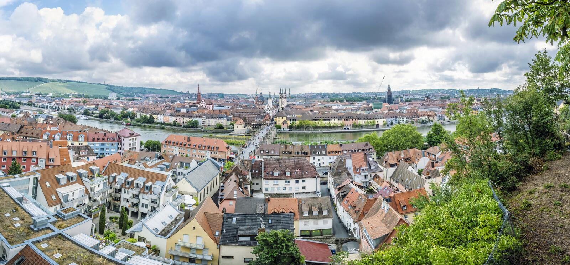 Panoramische foto van de stad van Wurzburg, Beieren, Duitsland stock foto's