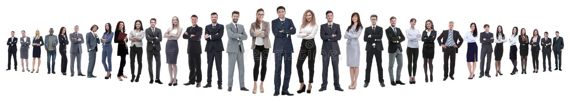Panoramische foto van een groep zekere bedrijfsmensen royalty-vrije stock afbeelding