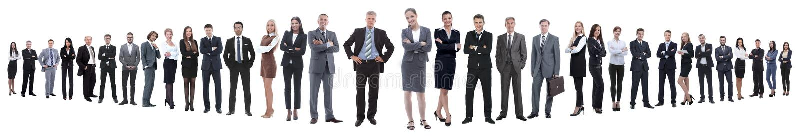 Panoramische foto van een groep zekere bedrijfsmensen stock afbeeldingen