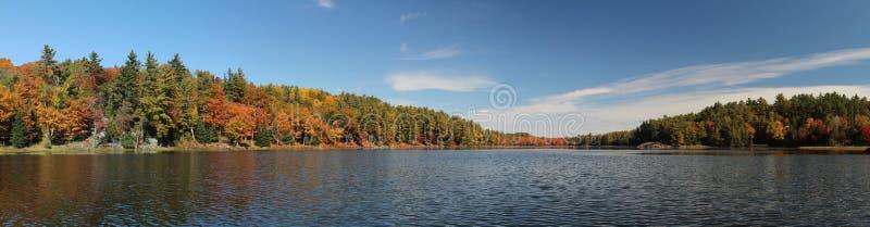 Panoramische foto van meer en de herfstbos stock afbeeldingen