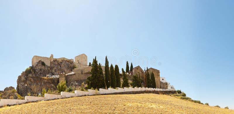 Panoramische foto van pueblos blancos Olvera. stock afbeelding
