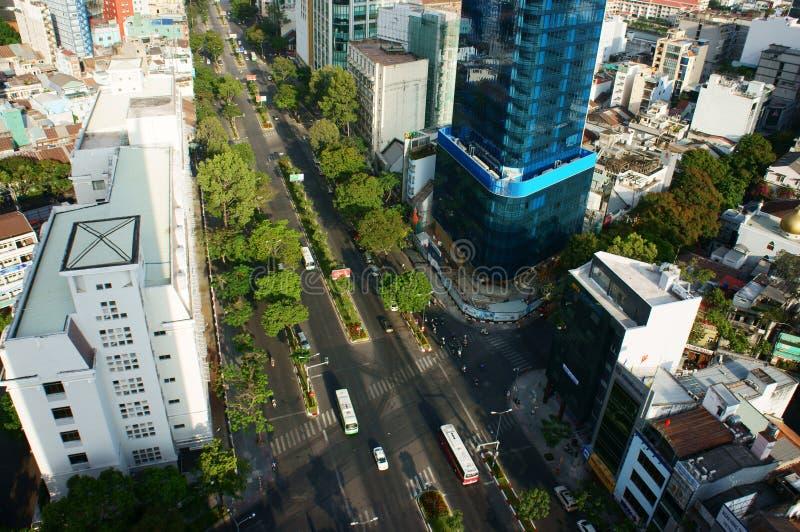 Panoramische Ho Chi Minh-stad, Vietnam op dag stock afbeelding