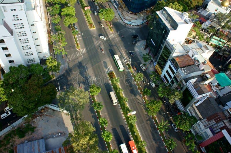 Panoramische Ho Chi Minh-stad, Vietnam op dag stock foto