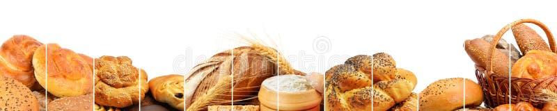 Panoramische inzameling van broodproducten royalty-vrije stock afbeeldingen