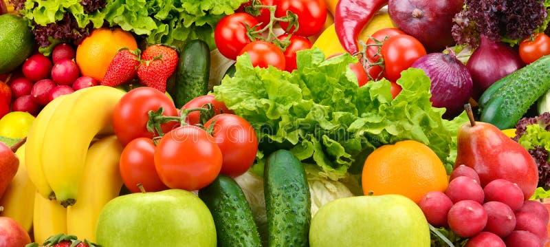 Panoramische inzamelings gezonde vruchten en groenten stock foto's